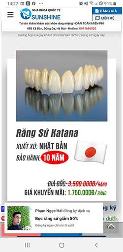 Thẻ bảo hành răng sứ katana